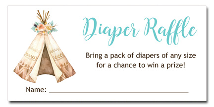 Boho Teepee Baby Shower Diaper Raffle Tickets