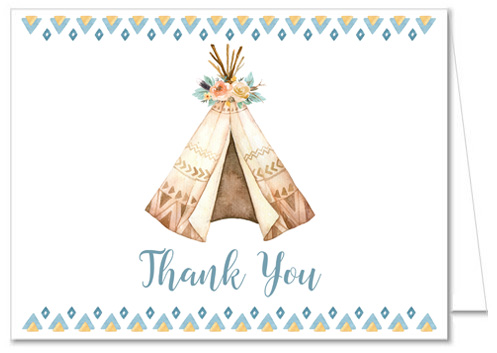 Boho Teepee Baby Shower Thank You Cards