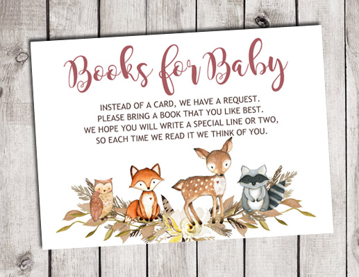 Woodland Animals Books for Baby Shower Insert Cards