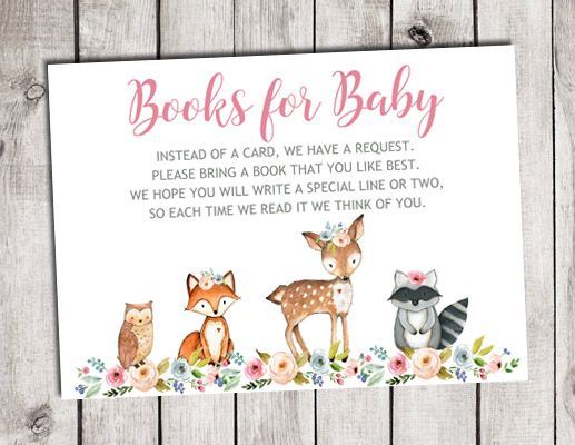Woodland Animals Girl Books for Baby Shower Insert Cards