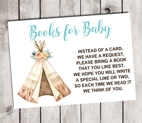 Boho Teepee Books for Baby Shower Insert Cards