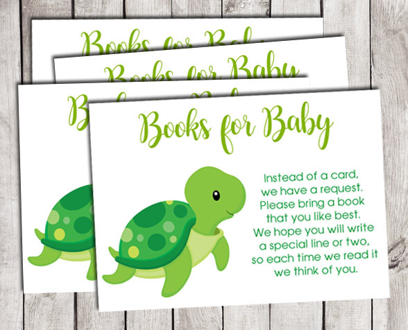 Turtle Books for Baby Shower Insert Cards