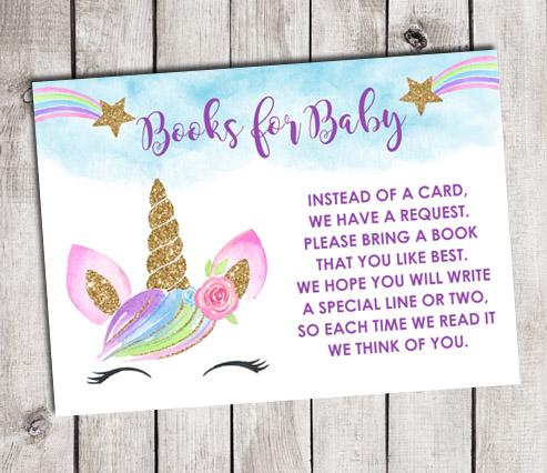 Unicorn Books for Baby Shower Insert Cards