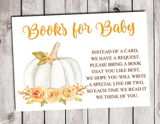 Pumpkin Books for Baby Shower Insert Cards