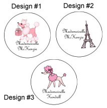 Pink Poodle in Paris Round Envelope Seals