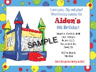 Bounce House Moonwalk Inflatable Birthday Party Invitations