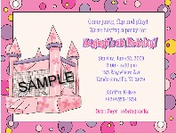 Bounce House Castle Inflatable Birthday Party Invitations