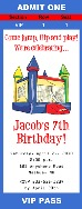 Bounce House Moonwalk Birthday Party Ticket Invitations