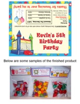 Bounce House Moonwalk Inflatable Birthday Party Bag Toppers Favors
