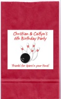 Bowling Birthday Party Goodie Loot Bag Labels