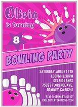 Bowling Birthday Party Invitations Girl