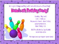 Bowling Birthday Party Invitations Girl 2