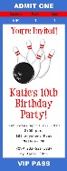 Bowling Birthday Party Ticket Invitations