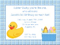 Rubber Ducky Birthday Party Invitations Boy