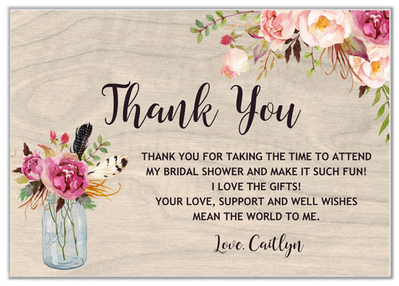 Rustic Mason Jar Bridal Shower Thank You Cards