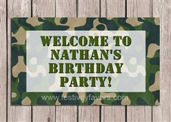 Camouflage Army Birthday Party Sign