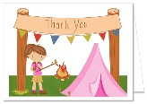 Camp Out Camping Girl Thank You Note Cards