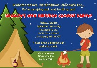 Camp Out Camping Birthday Party Invitations Boy
