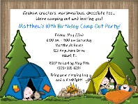 Camp Out Camping Birthday Party Invitations