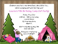Camp Out Camping Birthday Party Invitations Girl 2