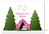 Camp Out Camping Girl Thank You Note Cards Personalized