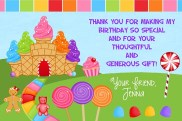 Candy Land Thank You Cards Personalized