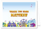 Carnival Amusement Park Birthday Thank You Note Cards