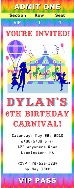 Carnival Amusement Park Birthday Party Ticket Invitations
