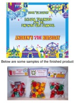 Carnival Amusement Park Birthday Party Bag Toppers w/Recloseable Bags