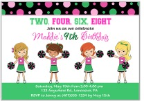 Cheerleader Birthday Party Invitations