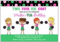 Cheerleader Birthday Party Invitations