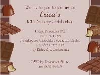 Chocolate Themed Birthday Party Invitations