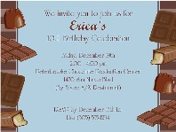 Chocolate Themed Birthday Party Invitations Blue