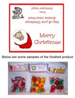 Christmas Cat Party Bag Toppers Favors w/Recloseable Bags