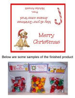 Christmas Dog Party Bag Toppers Favors w/Recloseable Bags