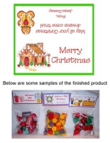 Christmas Gingerbread House Party Bag Toppers Favors