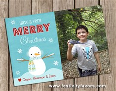 Christmas Holiday Snowman Photo Greeting Cards