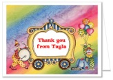 Circus Clown Birthday Party Thank You Note Cards