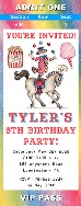 Circus Clown Birthday Party Ticket Invitations