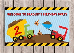 Construction Trucks Birthday Party Sign