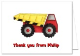Construction Dump Truck Thank You Note Cards