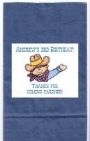 Cowboy Birthday Party Personalized Goodie Loot Bag Labels