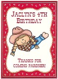 Cowgirl Birthday Personalized Crayon Box Labels Favors