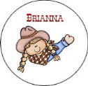 Cowgirl Round Envelope Seals Labels