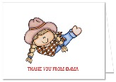 Cowgirl Birthday Party Thank You Note Cards