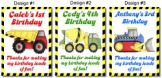 Construction Trucks Birthday Crayon Box Labels
