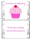 Cupcake Birthday Mini Candy Wrappers Favors