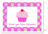 Cupcake Birthday Party Thank You Note Cards Personalized