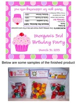Cupcake Birthday Party Bag Toppers Favors w/Recloseable Bags