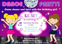 Dance Party Birthday Invitations